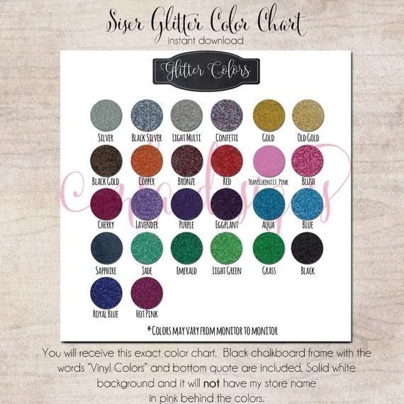 Siser Glitter Color Chart Htv Heat Transver Vinyl Chart