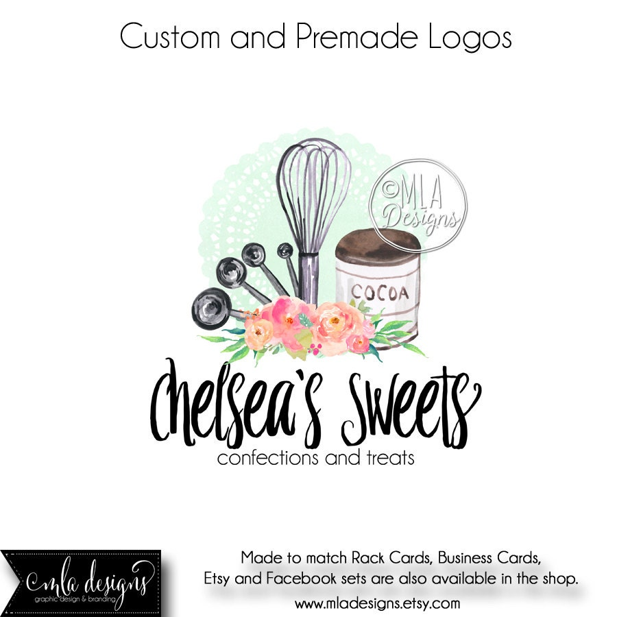Baking Logo Premade Logo Baking Watercolor Logo Bakery