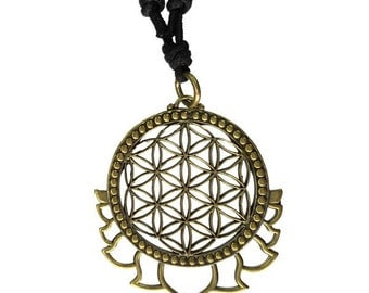 Flower of Life with Lotus Petals Brass Pendant, Brass Charm, Sacred Geometry jewelry, Tribal Jewellery, Boho Pendant, Boho jewellery, TRIBU