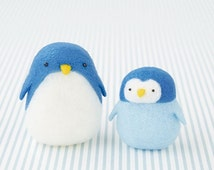 Japanese Needlel Acrylic Fiber Felt DIY Kit, Kawaii  Penguin, Hamanaka Cute Sea Animal Felt Kit, Japanese Felting Supply, Blue & White,Ff168