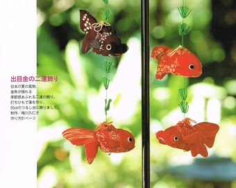 Japanese Chirimen Hanging Ornament Mobile Made of Japanese Crepe Fabric, Easy Sewing Pattern Book, Traditional & Retro Chirimen Zakka, B1748
