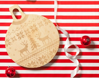 Holiday Sweater Wood Cutting Board Maple Round 11 x 14