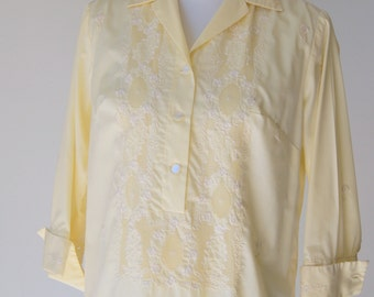 Vintage 1960s Yellow Embroidered Blouse  with mother of Pearl Buttons