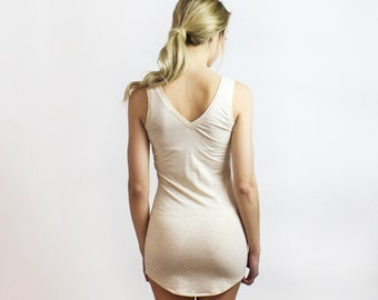 Bamboo Slip Tunic tank top, Heather Almond, Sasha Cozy Eco stretch jersey - Underlayer sleepwear / Layering piece