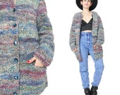 Vintage Hand Knit Cardigan Multi Color Pastels Textured Stripes Slouchy Grandma Cardigan Wool Sweater Jumper Button Up Winter Pockets (M/L)