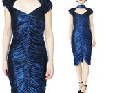 70s 80s Cut Out Neck Bodycon Dress Sparkly Metallic Dress Choker Collar Dress Blue Party Dress Sexy Glam Rock Mini Dress Cut Out Back (XS/S)