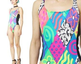 30% OFF SALE 80s Neon Swimsuit One Piece Swim Suit Floral Spandex Swim Suit Sexy High Cut Legs Low Back 1980's Maillot Bathing Suit (M)