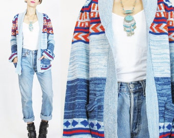 1970s Space Dyed Cardigan Boho Geometic Striped Cardiagn Open Front 70s Blue Cardigan Shawl Collar Knit Sweater Bell Sleeve Sweater S/M E91