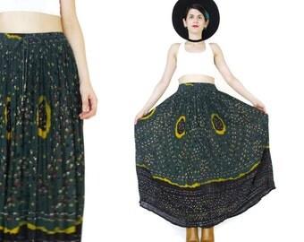 Vintage Indian Gauze Cotton Maxi Skirt Gypsy Hippie Boho Skirt Forest Green Skirt Crinkle Drawstring Waist Plus Size Broomstick Skirt (S/M)