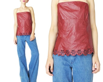 90s Cut Out Pleather Tank Top Open Back Tank Laser Cut Floral Dark Red Strappy Tank Top Faux Leather Sexy Club Kid Rave Burning Man (M/L)
