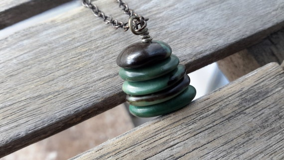 Green Turquoise Cairn Necklace | Smooth Stacked Stone Pendant on Dark Brass Chain
