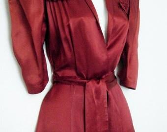 WWII era 1940s Boudoir Dressing Gown, wine satin robe, kimono dress, size medium