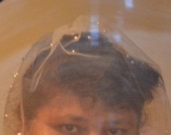 Birdcage Veil,  blusher veil,  birdcage veil with beads, netting,  bridal birdcage veil, wedding veil, short veil,   Ivory veil