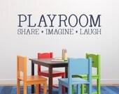 Playroom Decal - Share Imagine Laugh - Kids Wall Decal - Playroom Decor - Children Wall Art