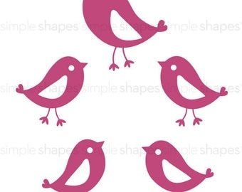 Set of 5 Birds for Tree with Birds and Nest  - 1024