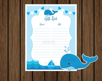 Whale Baby Shower Gift List, Whale Birthday Gift List, Nautical Baby Shower, Nautical Birthday, Boys Baby Shower, Instant Download