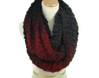 Knit Infinity Scarf, Red Black Scarf, Knit Scarf, Knit Cowl, Gift Idea For Her, Snood, Fiber Art, Women Scarf, Fashion Scarf, Circle Scarf,