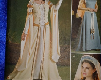 Sewing Pattern Simplicity 8881 Elizabethan Maid Marian Fantasy 2 Dress Styles, Under Dress, Veil Hat Multi-Sized Uncut Unused Free Shipping