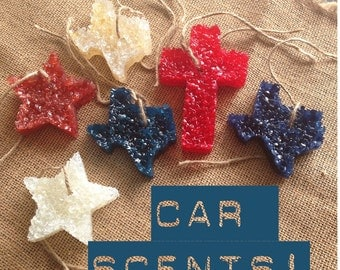 Car Scent Aroma Bead Air Freshener Leather Scented Cross Texas Star Shape Choice
