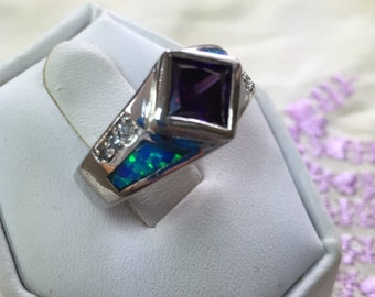 AmethysT and inlaid Opal Ring Size 6