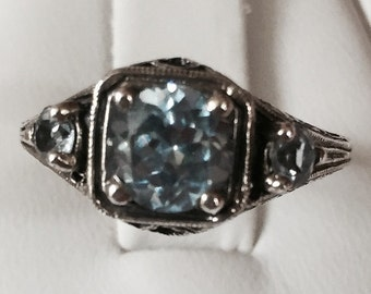 Aquamarine Ring in Petite Antique Look Sterling Silver Setting Size 5 3/4