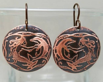 Etched Copper Mermaid with Dolphin Earrings