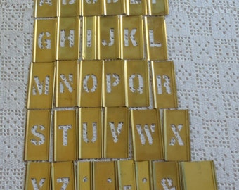 "Vintage Stencils Reese's Adjustable Lockedge Brass 1"" Letters 32 Pc."