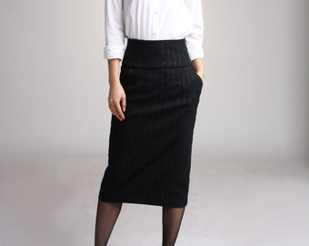 Hand Made High Waist Pencil Skirt- Black Wool with gold pin stripe