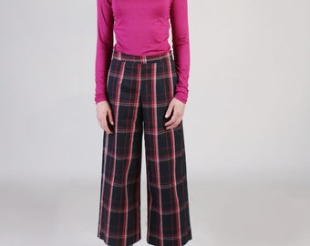 Wide Crop Pants in Red Plaid, Wide Leg Pants, Wide Bottom Pants, Plaid Pants, Tartan Pants, Palazzo Pants, Tailored Pants with Pocket