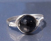 30% OFF LG Faceted Black Tourmaline Ring Argentium Sterling Silver Wire Wrapped Ring Custom Sized