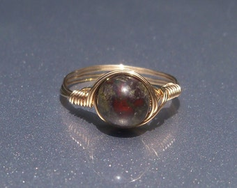 LG Dragons Blood Jasper 14k Gold Filled Wire Wrapped Stone Ring