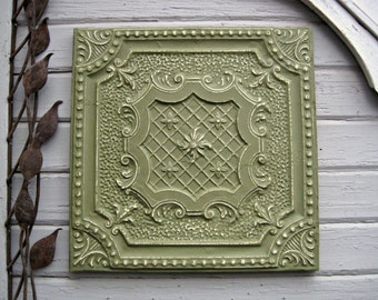 Antique Ceiling Tile. 2'x2'  Antique architectural salvage.  FRAMED & Ready to hang.  Metal wall decor. Old pressed tin. Green tile.