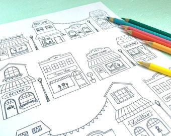 Printable STOREFRONTS Coloring Page Digital File Instant Download Main Street Little Shops