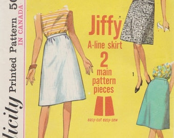 Simplicity 5937 / Vintage 1960s Sewing Pattern / A Line Skirt / Waist 30