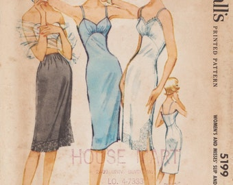 McCalls 5199 / Vintage 1950s Sewing Pattern / Lingerie Petticoat Slip / Size 16 Bust 36