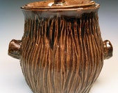 Handmade Stoneware Cookie Jar - tree bark rustic home decor