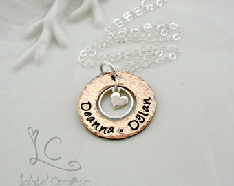 Copper Hand Stamped Necklace, Personalized Jewelry, Copper Washer Necklace, Hand Stamped Jewelry, Personalized Mommy Necklace, Mother's Love