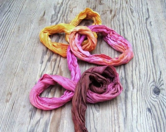 Silk scarf, hand dyed scarf, hand painted scarf, sunset, crinkle scarf, ombre orange, long scarf, colors trend, summer scarf, feminine, soft
