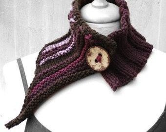 Boho scarf, knit scarf, chunky neckwarmer, boho neckwarmer, Wool neckwarmer, Freeform, Bohemian clothing, Rustic scarf, unique, gift for her
