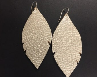 Leather Earrings - Metallic Leather Feather Earrings - Leather Feathers