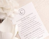 Printable Wedding Reception Thank You Card  - Style TY101 - LAUREL WREATH COLLECTION | Thank You Note