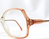 vintage 1970s NOS eyeglasses oversized round clear cognac brown plastic frames prescription womens eye glasses eyewear retro orange peach