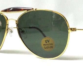 vintage 1980's NOS aviator sunglasses gold metal wire frames gray glass lenses sun glasses eyewear pilot cop oversized mens womens retro