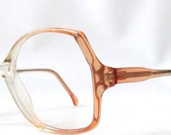 vintage 1970s NOS eyeglasses oversized round clear cognac brown plastic frames prescription womens eye glasses eyewear retro orange peach