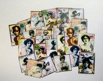 "25 Vintage Women Collage Stickers, 1.5"" x 2"" (38x51mm) Vintage Ephemera Stickers, Photo stickers, mixed media, Recycled photo stickers"