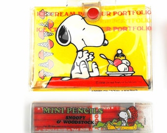 1965 Peanuts Snoopy & Woodstock Mini Pencils Ice Cream Parlour Portfolio - Vintage United Feature Syndicate Butterfly Originals Collectibles
