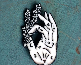 Palmistry Palm Reading Hand Fortune Teller Button Occult Pin Gypsy Witchcraft Lavender Spells
