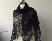 Black beaded hand knitted alpaca  lace shawl with nupps