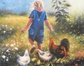 Country Girl Art Print blond girl, chickens, roosters, sunflowers, little farm girl, blue, yellow, summer girl, Vickie Wade Art