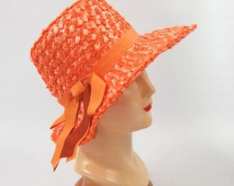Orange 1960s Straw Hat - Cellophane Straw Hat - size 22 -60s Orange Hat - Summer Hat